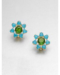 kate spade new york - Blue Faceted Floral Stud Clip On Earrings - Lyst