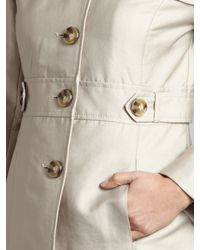 Kenneth Cole Natural Side Tab Single Breasted Cotton Sateen Mac