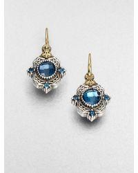 Konstantino - Blue Semiprecious Multistone Sterling Silver 18k Gold Drop Earrings - Lyst