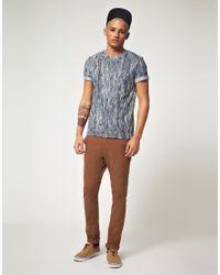Lacoste L!ive - Blue Lacoste Live Slim Fit Woodgrain Tshirt for Men - Lyst