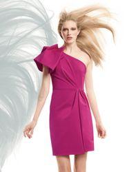 Lela Rose   Pink Gathered One-shoulder Dress   Lyst