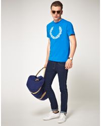Fred Perry Blue Laurel Print Tshirt for men