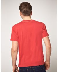 Fred Perry Red Laurel Print Tshirt for men