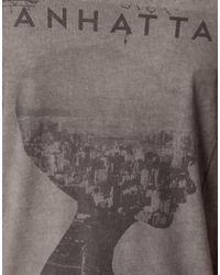 River Island Gray Manhattan Tshirt for men