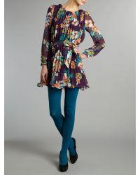 Sodamix Purple Floral Belted Dress