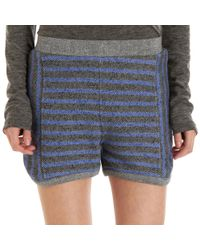 T By Alexander Wang Blue Striped French Terry Shorts