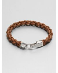Tateossian - Brown Braided Leather Bracelet for Men - Lyst