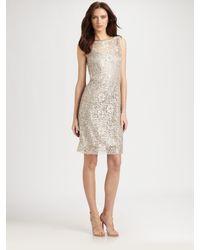 Teri Jon Natural Lace Dress