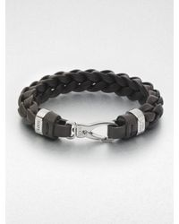 Tod's Brown Braided Leather Bracelet for men