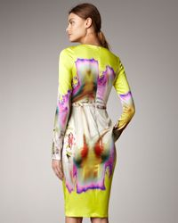 Vera Wang | Yellow Printed Satin Dress | Lyst