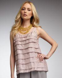 Eileen Fisher Pink Tiered Silk Tank