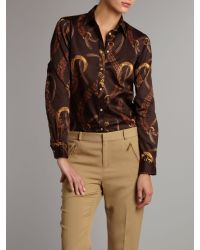 Lauren by Ralph Lauren Brown Aaron Long Sleeve Classic Shirt