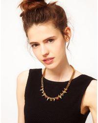 ASOS Metallic Jewelled Spike Collar Necklace