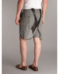 DIESEL Gray Mini Check Braces Detail Shorts for men