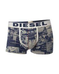 DIESEL Blue Printed Underwear Trunk for men