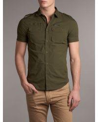 DIESEL Green Short Sleeve Two Pocket Military Shirt for men
