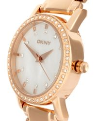 DKNY - Metallic Rose Gold Bracelet Watch - Lyst