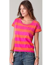 Madewell Pink Bright Rugby Striped Lucas Tee