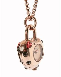 Marc By Marc Jacobs Metallic Rose Gold Jewel Pendant Watch