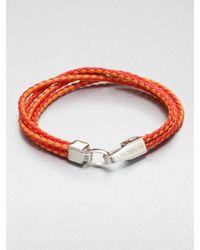 Tateossian | Metallic Braided Leather Bracelet for Men | Lyst