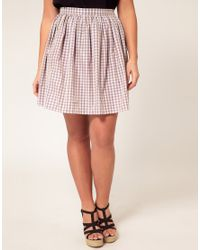 ASOS Pink Asos Curve Exclusive Skirt in Pretty Gingham