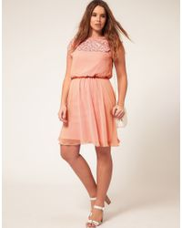 ASOS Purple Asos Curve Skater Dress with Daisy Lace