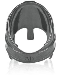 Aurelie Bidermann Black Perceval Oxidizedsilver Helmet Ring