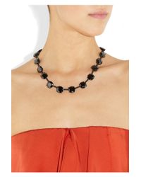 Bottega Veneta - Black Rutheniumplated Silver and Zircon Necklace - Lyst