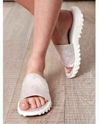 Christopher Kane | White Metallic Brocade Sandals | Lyst