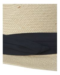 Dents Natural Straw Trilby Hat with Navy Band for men