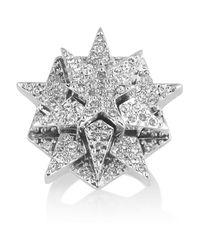 Eddie Borgo | Metallic Pentagram Silverplated Pavé Crystal Ring | Lyst
