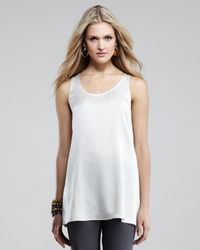 Eileen Fisher White Long Silk Tunic