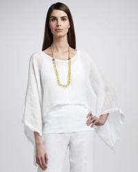 Eileen Fisher White Linen Gauze Poncho