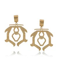 Etro | Gold Hammered Brass Clip Earrings | Lyst