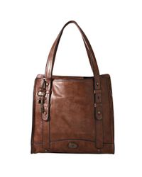 Fossil Work North South Tote In Brown Lyst