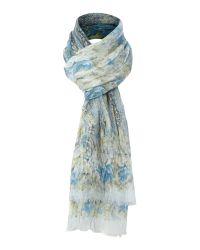 Fraas Blue Floral Paisley Print Scarf