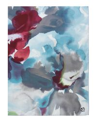 Fraas Blue Watercolour Silk Square Scarf