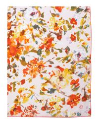 Fraas Pink Floral Silk Square Scarf