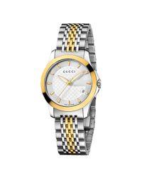 Gucci Metallic Timeless Mother Of Pearl Diamond Set Dial Bracelet Watch