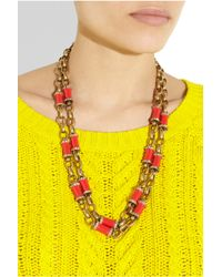 J.Crew Red Crystal Icicle Pendant Necklace