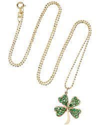 Jennifer Meyer - Metallic 14karat Gold Emerald Clover Necklace - Lyst