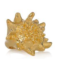 Kenneth Jay Lane | Metallic 22karat Goldplated Shell Ring | Lyst