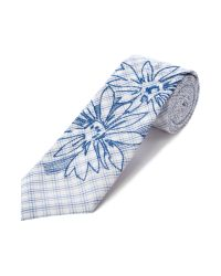 KENZO Blue Embroidered Floral Tie for men