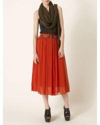 Label Lab Red Crinkle Midi Skirt