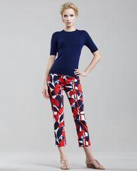 MILLY Blue Annie Printed Capri Pants