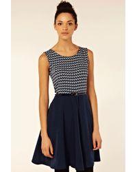 Oasis Blue Nautical Woven Mix Dress