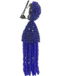 Oscar de la Renta | Blue Beaded Tassel Clip Earrings | Lyst