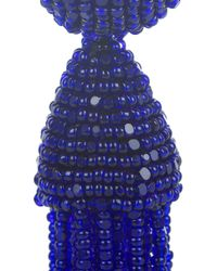 Oscar de la Renta   Blue Beaded Tassel Clip Earrings   Lyst