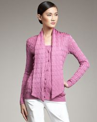 Ralph Lauren Black Label Pink Cable knit Silk Scarf Cardigan