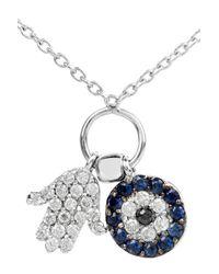 Vanessa Kandiyoti - 18karat White Gold Diamond and Sapphire Charm Necklace - Lyst